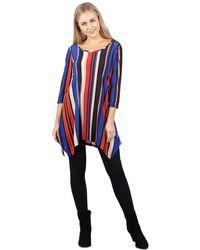 Izabel London - Blue Striped Floral Hanky Hem Top - Lyst