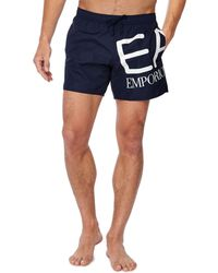 Armani - Navy Logo Print Swim Shorts - Lyst