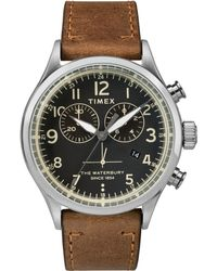 Timex - Men's Brown Chronograph Leather Strap Contactless Watch Twf3c8230 - Lyst