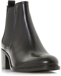 Dune - Black Leather 'paramoor' Mid Block Heel Chelsea Boots - Lyst