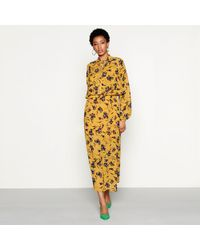 Y.A.S - Mustard Floral Print Chiffon 'glory' High Neck Long Sleeve Midi Dress - Lyst