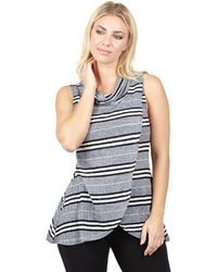 Izabel London - Multicoloured Rolled Neck Striped Wrap Top - Lyst