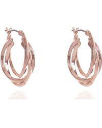 Anne Klein - Rose Gold Three Hoop Earrings - Lyst