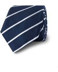 Tm Lewin - Navy Stripe Slim Silk Tie - Lyst