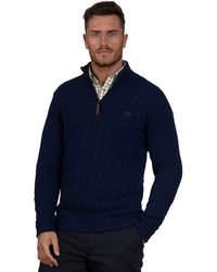 Raging Bull - Navy Cable Knit Jumper - Lyst