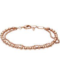 Fossil - Ladies Rose Gold Multi-beaded Bracelet - Lyst