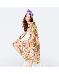 Richard Quinn - Yellow Floral Print Mesh Round Neck Long Sleeve Midi Dress - Lyst
