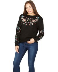 Tenki - Black Embroidered Round Neck Jumper - Lyst
