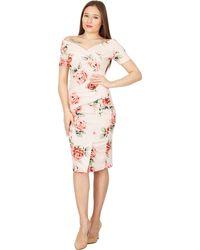 Feverfish - Peach Off Shoulder Rose Print Dress - Lyst