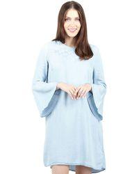 Izabel London - Light Blue Embroidered Ruffle Sleeves Denim Dress - Lyst