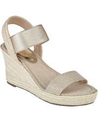 Lotus - Gold 'adita' High Wedge Heel Peep Toe Sandals - Lyst