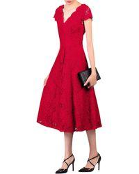 Jolie Moi - Red Cap Sleeve Lace Midi Dress - Lyst