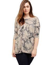 Studio 8 - Sizes 12 -26 Navy And Stone Nadia Printed Jumper - Lyst