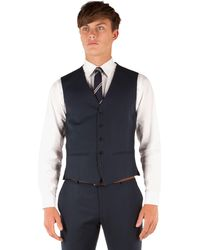 Red Herring - Navy Plain Weave 5 Button Slim Fit Suit Waistcoat - Lyst