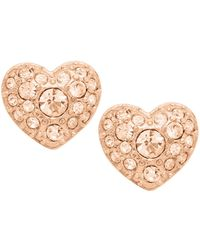 Fossil - Rose Gold-tone Heart Studs - Lyst