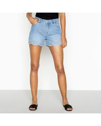 Red Herring - Mid Blue Embroidered Denim Shorts - Lyst