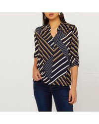 924291730d6d6d Dorothy Perkins - Petite Blue Stripe Roll Sleeve Shirt - Lyst