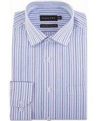 Double Two - Big And Tall Aqua Multi Stripe Formal Shirt - Lyst