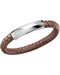 Calvin Klein - Brown 'bewilder' Leather Strap Bracelet - Lyst