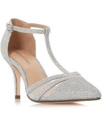 Roland Cartier - Silver 'dennice' Mid Stiletto Heel T-bar Sandals - Lyst