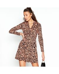 cb9c9b824fa Red Herring - Pale Pink Leopard Print Side Button Mini Length Dress - Lyst