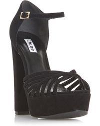 Dune - Black Suede 'madisonn' High Platform Ankle Strap Sandals - Lyst