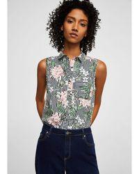 Mango - Black Stripe And Floral Print 'tuti' Top - Lyst