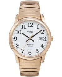 Timex - Men's Easy Reader White Dial With Gold Expansion Band Watch T2h301 - Lyst
