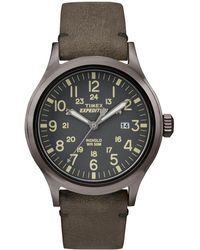 Timex - Men's Grey 'expedition Scout' Leather Strap Watch Tw4b01700 - Lyst