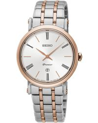 Seiko - Ladies Premier Stainless Steel/two Tone 3-hand Bracelet Watch Sxb430p1 - Lyst