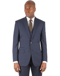 Racing Green - Navy Tonal Check Tailored Fit 2 Button Suit Jacket - Lyst