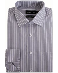 Double Two - Grey Varied Stripe Formal Shirt - Lyst