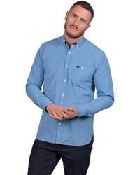 Raging Bull - Big And Tall Mid Blue Long Sleeve Small Gingham Shirt - Lyst