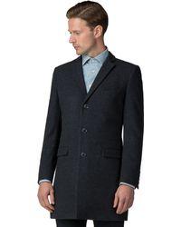 Ben Sherman - Slate Blue Tonal Check Overcoat - Lyst
