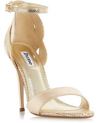 Dune - Gold Leather 'margaux' High Stiletto Heel Ankle Strap Sandals - Lyst