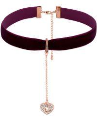 Lipsy - Crystal Heart Padlock Charm Choker Necklace - Lyst