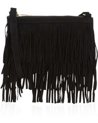 Oasis - Leather Fringe Clutch - Lyst