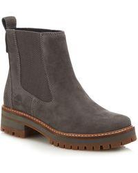 Timberland - Grey Nubuck 'courmayeur Valley' Chelsea Boots - Lyst