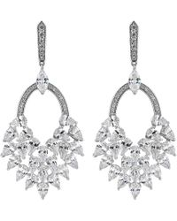 Jenny Packham - Silver Cubic Zirconia Statement Drop Earrings - Lyst