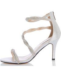 05416ef7ad8 Steve Madden Cagged Diamante Strappy High Heel Sandal in Metallic - Lyst