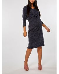39bdd94928e Dorothy Perkins - Maternity Navy Brushed Manipulated Dress - Lyst