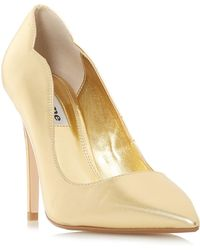 Dune - Gold Suede 'ashe' High Stiletto Heel Court Shoes - Lyst