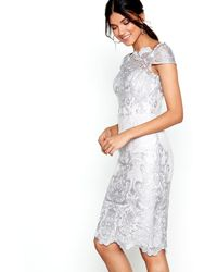 Lipsy - Grey Lace 'lossy' Pencil Dress - Lyst