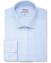 Tm Lewin - Slim Fit Light Blue Stripe Poplin Button Cuff Regular Sleeve Length Shirt - Lyst