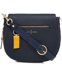 J By Jasper Conran - Navy Front Zip Detail Saddle Bag - Lyst