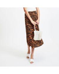 2160e58da River Island Tan Brown Faux-suede Split Front Pencil Skirt in ...