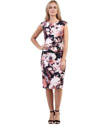 Izabel London - Multicoloured Floral Print Pleated Side Shift Dress - Lyst