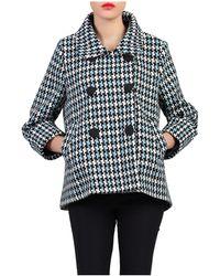 Jolie Moi - Blue Houndstooth Wool Blended Jacket - Lyst