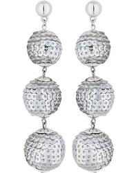 Red Herring - Silver Sequin Orb Statement Earings - Lyst