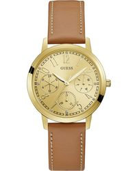 Guess - Ladies Brown Leather Strap Watch - Lyst